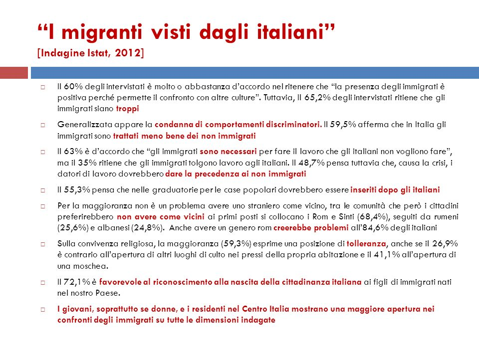 I migranti visti dagli italiani [Indagine Istat, 2012]